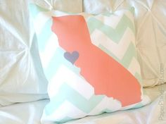 San Francisco California State Decorative Pillow Cover, Chevron Throw Pillow in Mint and Coral