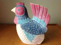 10 Vintage Rooster Blue and Red Clay Chicken Hen