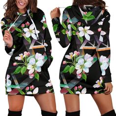 Apple Blossom Pattern 07 Woman Hoodie Dress Pattern Print, Print Patterns, Rectangle Area, Hoodie Dress, High Definition, Custom Made, Print Design, Just For You, Rug