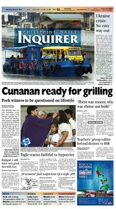 """""""Cunanan ready for grilling,"""" today's Inquirer Banner Story (March 6, 2014). Grab your copies from the nearest newsstand or download the digital version at inquirer.net/apps/"""