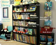 """""""home library"""" - love the plate rack displaying books, good way to get the kids to notice specific books . . . hang it in the school room or, with a small shelf in the living room?"""