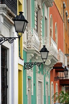 Balconies in Old San Juan shopping district, San Juan, Puerto Rico.  Photo © Steve Grundy.