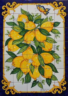 Kitchen - Portuguese Tile Mural - Lilly is Love Tile Murals, Tile Art, Mosaic Tiles, Cement Tiles, Wall Tiles, Limoncello, Fine Porcelain, Porcelain Ceramics, Porcelain Jewelry