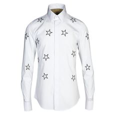 Spring Autumn men shirt High quality stars Embroidery slim fit long sleeve casual shirts 80% Cotton Top Brand Clothing Plus Size #Affiliate