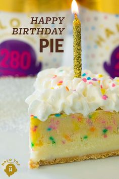 Trying to find the perfect dessert to celebrate your birthday? Wow your party guests with this Happy Birthday Pie. While they're obsessing over it, tell them it's made with Halo Top's Birthday Cake Ice Cream. With only 280 calories per pint, you don't have to feel bad about grabbing a second (or even third) slice!