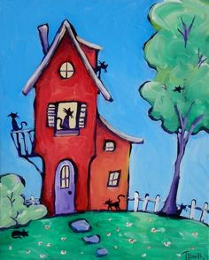 The Cat House - Original Art Painting on Canvas Panel Orca Art, House Painting, Painting & Drawing, Art Themes, Naive Art, Whimsical Art, Doodle Art, New Art, Home Art