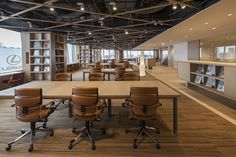 Wonderfully Warm Open Plan with Leather and Timber Details Open Space Office, Open Concept Office, Office Space Design, Workspace Design, Office Workspace, Office Decor, Corporate Interior Design, Corporate Interiors, Office Interiors