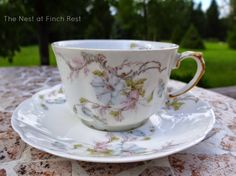 Limoges Tea Cup ~ The Nest at Finch Rest: Teatime with Cake and Hydrangeas