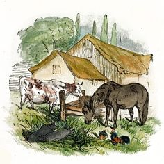 Serene drawing of a horse, cow, two pigs and chickens in a farmyard. The thatched roof barn, split rail fence and tall trees truly make this more than just another animal drawing.   $6.00