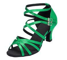 Damen Ankle Minitoo Wrap Med Dance Shoes Pumps-Satin, Verde (verde), 38 EU Minitoo