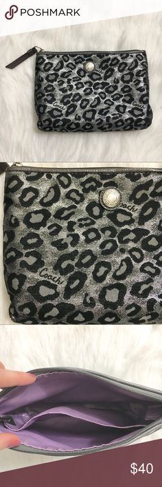 """Coach Ocelot Silver Leopard Animal Print Bag Coach Ocelot Silver Leopard Animal Print Makeup Cosmetic Bag. Great condition outside looks great, inside has a few spots but still very clean.  Length 8.5""""  Height 6.5"""" Coach Bags Cosmetic Bags & Cases"""