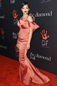 Diamond Ball, LA - December 11 2014  Rihanna teamed a Zac Posen gown with jewellery by Chopard.