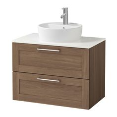 "GODMORGON/ALDERN / TÖRNVIKEN Cabinet, countertop, 19 5/8"" sink - walnut effect, 32 1/4x19 1/4x29 1/8 "", white - IKEA"