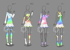 Colorful outfits - sold by nahemii-san on deviantart outfits szkice, rys Dress Drawing, Drawing Clothes, Character Costumes, Character Outfits, Anime Dress, Fashion Art, Fashion Design, Colourful Outfits, Anime Outfits
