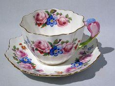 Very RARE Paragon Rose Bouquet Crocus Flower Handle Cup Saucer c1933 34 Mint   eBay