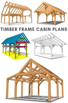 At Timber Frame HQ, we offer different styles of cabin plans suitable for many uses! From garages to hunt camps to hobby shops, we have you covered! Cabin Plans, Shed Plans, Timber Frame Cabin, Timber Frame Garage, Casas Country, Building A Cabin, Post And Beam, Pergola Plans, Pergola Kits