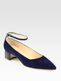Chunky heel means comfort and thin ankle strap means sexy. Travel shoe. Manolo Blahnik Two-Tone Suede Ankle Strap Pumps