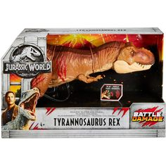 Jurassic World Roarin' Super Colossal Tyrannosaurus T Rex Battle Damage Kid Toys Jurassic World Dinosaur Toys, Jurassic Park Toys, Jurassic Park World, Spinosaurus, Christmas Presents For Kids, Peter Pan Disney, Tyrannosaurus Rex, Disney Toys, Funny Animal Videos
