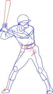 how to draw a baseball player step 4