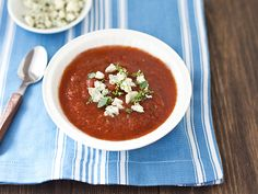 Roasted tomato gazpacho, any recipe that starts with roasted tomato has to be a winner!