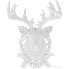Add a touch of eclectic-Scandi style to your living room or study with this white deer accent. Perfect mounted on white painted brick walls or damask-print w. Kare Design, Painted Brick Walls, Deer Ornament, Ornaments, Stag Head, Deer Heads, Rustic Room, Print Wallpaper, Deer Antlers