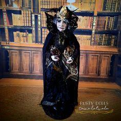 Witch - Art Doll - Fantasy Doll - Queen Elizabeth 1 - Witch Art Doll - Handmade - Doll - Fantasy - Whimsical - OOAK Doll - Witch Doll - by RustyDolls on Etsy Black And Grey Hair, Polymer Clay Dolls, Witch Art, Creative Artwork, Hand Shapes, Fairy Dolls, Ooak Dolls, Queen Elizabeth, Whimsical
