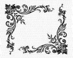 Black scroll lace | Victorian Style Floral Rose Corner Border Frame Antique Image Vintage ...