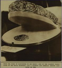 a newly acquired image of the diamond art deco tiara given to Princess Alice of Gloucester when she married Prince Henry in 1935