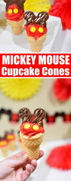Looking for Mickey Mouse Cupcakes Ideas? Make these adorable Mickey Mouse Cupcakes with a chocolate mickey mouse cupcake toppers. Mickey 1st Birthdays, Mickey Mouse 1st Birthday, Chocolate Candy Melts, Melting Chocolate, Cupcake Cones, Cupcake Toppers, Homemade Chocolate Cupcakes, Birthday Ideas, Birthday Parties
