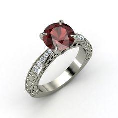Round Red Garnet Ring with Black Diamond and Diamond