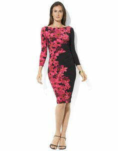 Three-Quarter-Sleeved Floral Matte Jersey Dress | Lord and Taylor for the Winter Garden Ball!