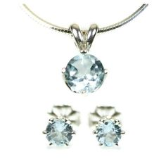 Sky Blue Topaz Jewelry Set Small Stud Earrings Large Pendant Necklace Sterling Silver Blue Topaz Earrings and Necklace November Birthstone $58 FREE Shipping Made in the USA #daughter #gift #girl #presents