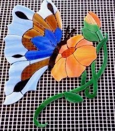 Precut Stained Glass Mosaic Inlay Kit BUTTERFLY W FLOWER Stepping Stone Birdbath | Crafts, Glass & Mosaics, Glass Art & Mosaic Supplies | eBay!