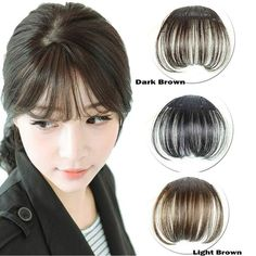 [Visit to Buy] Women Clip Bangs Hair Extension Fringe Hairpieces False Synthetic Hair Clips Front Neat Bang H7JP1 #Advertisement
