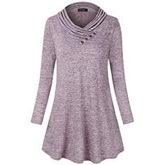 Enjoy exclusive for FANSIC Women's Cowl Neck Long Sleeve Button Decor Knitted Lightweight Sweatshirts Casual Tunic Top Blouses online - Findanew Blouse Online, Junior Dresses, Cowl Neck, Tunic Tops, Blouses, Tunics, Promotion Code, Sweatshirts, Long Sleeve