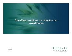 Orientação Jurídica para Startups - Rodrigo Menezes (SSB2012) by Startup Saúde Brasil via slideshare