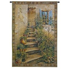 Fine Art Tapestries 'Tuscan Villa II' Cotton Small Wall Tapestry (Blended color waves), Multi