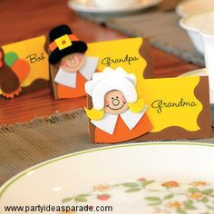 thanksgiving crafts for children | These Pilgrim place cards are a fun Thanksgiving craft idea for kids