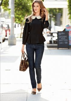 Peter pan collar blouse, skinny jeans, leopard print accessories