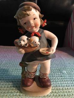 Vintage Enesco Little Girl Carrying Puppies Figurine