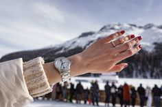 One of Switzerland's most exclusive horse-racing events is White Turf. This is held annually on the frozen lake near the majestic mountains of St. Swiss Watch Brands, Racing Events, Swiss Alps, Sporty Look, World Championship, Horse Racing, Watches, World Cup, Clocks
