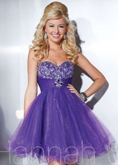Purple Short Sparkly Homecoming Dress 2014