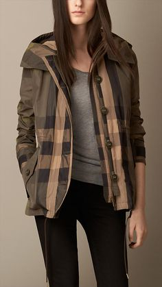 Showerproof Check Parka | Burberry to go with the pink sweater!