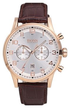 BOSS Chronograph Leather Strap Watch, 44mm available at #Nordstrom