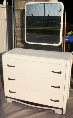 Art Deco Black and White Painted Dresser