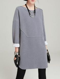 Light Gray Long Sleeve Crew Neck Plain Shift Mini Dress Light gray, long-sleeved round neck with round neck Look Fashion, Hijab Fashion, Winter Fashion, Fashion Dresses, Womens Fashion, Fashion Design, Hijab Stile, Fashion Vestidos, Mode Inspiration