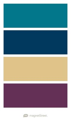 Peacock, Navy, Gold, and Eggplant - Free Color Swatches ordered at MagnetStreet.com