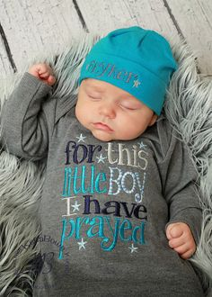 This Little Boy I Have Prayed, Cotton Beanie-newborn gown, embroidered baby boy gown, Baby Outfits, Outfits Niños, New Born Outfits Boy, Baby Boy Gowns, Baby Boy Romper, Baby Boy Hats, Baby Kids, Cute Babies, Foto Baby