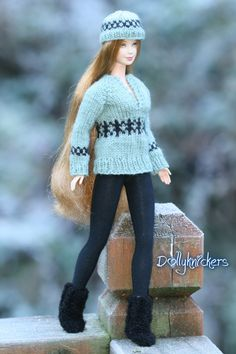 It was a very chilly day today but Marayna was a trooper to brave the cold to model the newest Fair Isle sweater and hat set.  She said she was quite warm!