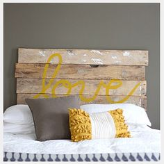 Grey and Yellow Bedroom--guess you can guess the color scheme i picked for our room